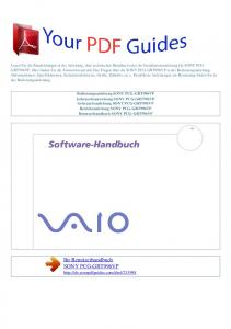 Ihr Benutzerhandbuch SONY PCG-GRT996VP