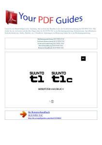 Ihr Benutzerhandbuch SUUNTO T1C