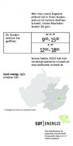 Ihr Kundenzentrum. geöffnet: local energy regio erhalten Sie * :