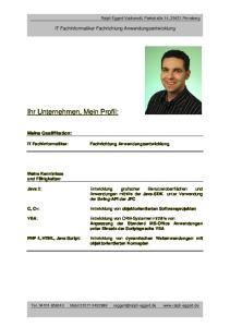 Ihr Unternehmen, Mein Profil: