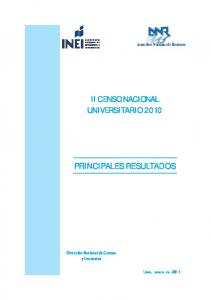 II CENSO NACIONAL UNIVERSITARIO 2010