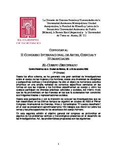 II CONGRESO INTERNACIONAL DE ARTES, CIENCIAS Y HUMANIDADES CONVOCAN AL