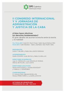 II CONGRESO INTERNACIONAL Y V JORNADAS DE ADMINISTRACIÓN Y JUSTICIA DE LA CABA