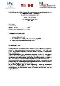 II CURSO INTERNACIONAL DE ACTUALIZACION EN ARTROPLASTIA DE CADERA, RODILLA Y HOMBRO 23 AL 25 DE FEBRERO DEL 2012