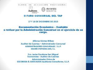 II FORO CONCURSAL DEL TAP 17 Y 18 DE DICIEMBRE DE 2015