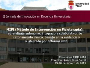 II Jornada de Innovación en Docencia Universitaria
