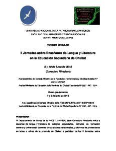 II Jornadas sobre Enseñanza de Lengua y Literatura en la Educación Secundaria de Chubut