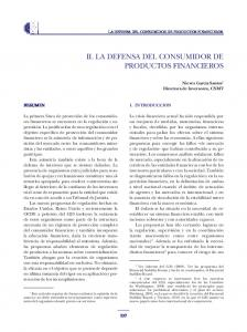 II. LA DEFENSA DEL CONSUMIDOR DE PRODUCTOS FINANCIEROS