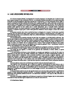 II - LAS LECCIONES DE BOLIVIA