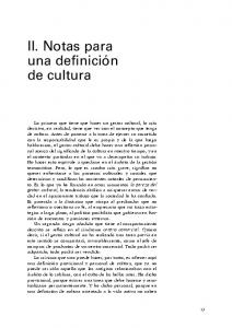 II. Notas para una definición de cultura