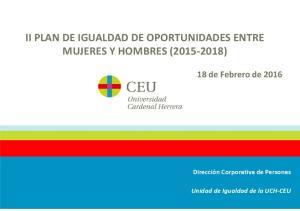 II PLAN DE IGUALDAD DE OPORTUNIDADES ENTRE MUJERES Y HOMBRES ( )