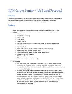 IIAH Career Center Job Board Proposal