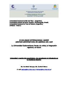 III COLOQUIO INTERNACIONAL SOBRE GESTION UNIVERSITARIA EN AMERICA DEL SUR