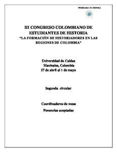 III CONGRESO COLOMBIANO DE ESTUDIANTES DE HISTORIA