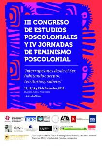 III CONGRESO DE ESTUDIOS POSCOLONIALES Y IV JORNADAS DE FEMINISMO POSCOLONIAL