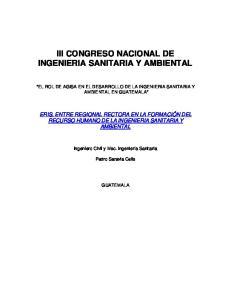 III CONGRESO NACIONAL DE INGENIERIA SANITARIA Y AMBIENTAL