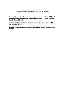 III CONGRESO NACIONAL DEL CULTIVO DE TOMATE