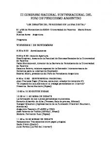 III CONGRESO NACIONAL E INTERNACIONAL DEL FORO DE PERIODISMO ARGENTINO