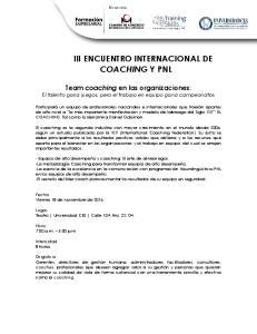 III ENCUENTRO INTERNACIONAL DE COACHING Y PNL