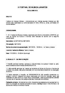 III FESTIVAL DE MÚSICA UNIVATES