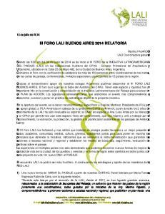 III FORO LALI BUENOS AIRES 2014 RELATORIA