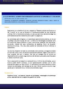 III JORNADAS SOBRE DOCENCIA DEL DERECHO Y TECNOLOGÍAS DE LA INFORMACIÓN Y LA COMUNICACIÓN