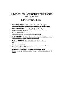 III School on Geometry and Physics