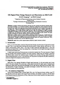 IIR Digital Filter Design Research and Simulation on MATLAB