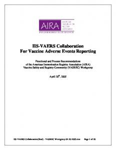 IIS-VAERS Collaboration For Vaccine Adverse Events Reporting