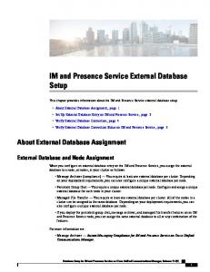 IM and Presence Service External Database Setup