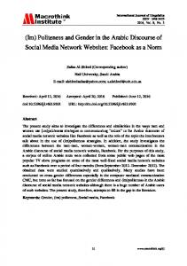 (Im) Politeness and Gender in the Arabic Discourse of Social Media Network Websites: Facebook as a Norm