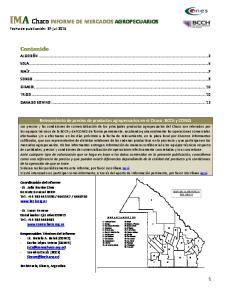 IMA Chaco INFORME DE MERCADOS AGROPECUARIOS