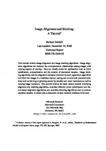 Image Alignment and Stitching: A Tutorial 1