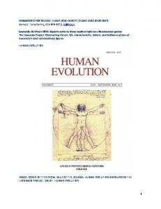 IMAGE: COVER OF THE SPECIAL ISSUE OF THE JOURNAL HUMAN EVOLUTION ANNOUNCING THE LEONARDO PROJECT. CREDIT: HUMAN EVOLUTION