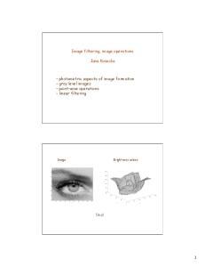 Image filtering, image operations. Jana Kosecka