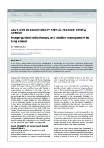 Image-guided radiotherapy and motion management in lung cancer