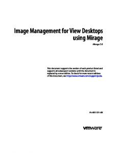 Image Management for View Desktops using Mirage