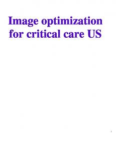 Image optimization for critical care US
