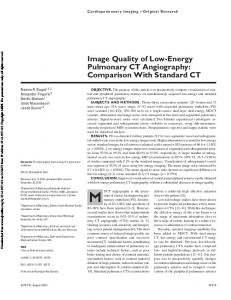 Image Quality of Low-Energy Pulmonary CT Angiography: Comparison With Standard CT
