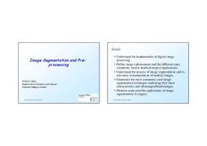 Image Segmentation and Preprocessing
