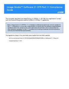 Image Studio Software 21 CFR Part 11 Compliance Guide