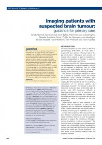 Imaging patients with suspected brain tumour: