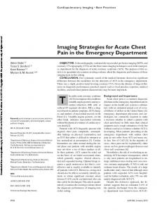 Imaging Strategies for Acute Chest Pain in the Emergency Department