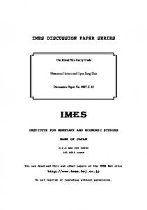 IMES DISCUSSION PAPER SERIES