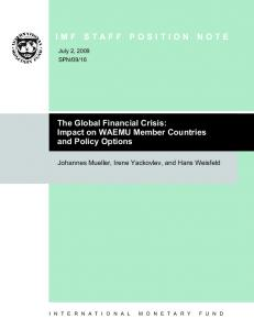 IMF STAFF POSITION NOTE. The Global Financial Crisis: Impact on WAEMU Member Countries and Policy Options