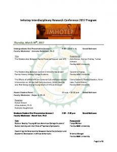 Imhotep Interdisciplinary Research Conference 2017 Program