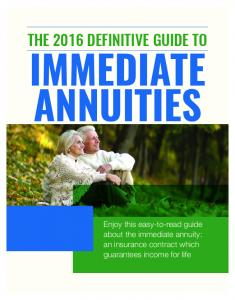 IMMEDIATE ANNUITIES THE 2016 DEFINITIVE GUIDE TO
