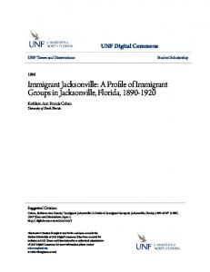 Immigrant Jacksonville: A Profile of Immigrant Groups in Jacksonville, Florida,