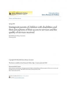 Immigrant parents of children with disabilities and their perceptions of their access to services and the quality of services received