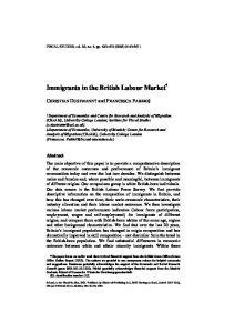 Immigrants in the British Labour Market *